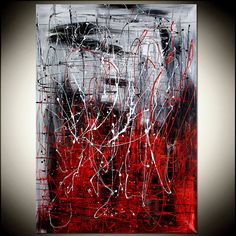 Ice Fire  Red Black and white ORIGINAL Wall by largeartwork