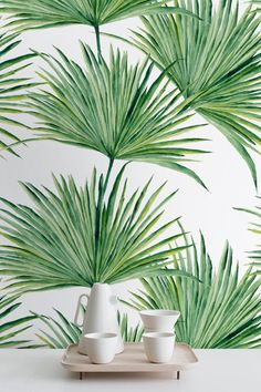 Watercolor Hand Drawn Palm Leaves Temporary Wallpaper Palm