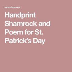 Handprint Shamrock and Poem for St. Patrick's Day
