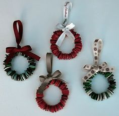 Button Christmas tree wreath ornaments