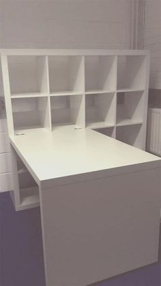 Desk Storage Combination - Ikea Kallax - Attached birch colored Expedit desk to one of the schoolroom Expedits (Kallax). Craft Tables With Storage, Craft Room Tables, Ikea Craft Room, Craft Desk, Craft Room Storage, Table Storage, Craft Rooms, Desk With Storage, White Craft Room