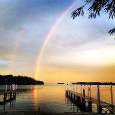 Fall rainbows & sunshine at Put-in-Bay, Ohio over Lake Erie.