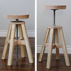 How To Build An Adjustable Height Wood And Metal Stool | http://homestead-and-survival.com/how-to-build-an-adjustable-height-wood-and-metal-stool/