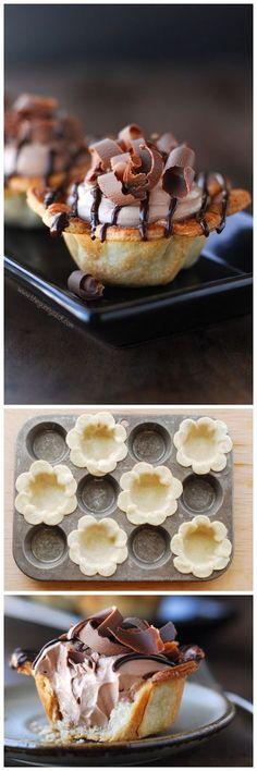 Ricette originali in una foto: cestini a fiore con mousse di nutella