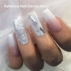 Ballerina Nail Art Tips Transparent/Natural False Coffin Nails Art Tips Flat Shape Full Cover Manicure Fake Nail Tips Acrylic Nails Natural, Marble Acrylic Nails, Colorful Nail Designs, Acrylic Nail Designs, Nail Art Designs, Nails Design, Pedicure Designs, Nagellack Design, Nagellack Trends
