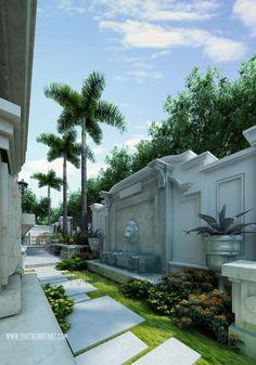 thiết kế biệt thự sang trọng Diy Fountain, Garden Fountains, Interior Exterior, Exterior Design, Patio Design, Garden Design, Big Modern Houses, Lanscape Design, Gazebos