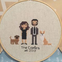 Custom Cross Stitched Family Portrait - 4 Characters - custom wedding gift, cotton anniversary gift by ThreadAndGlory on Etsy https://www.etsy.com/listing/247124109/custom-cross-stitched-family-portrait-4