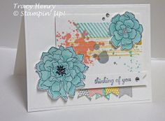 Thinking of YOU Flowers grunge Banners Stampin' Up! all occasion card