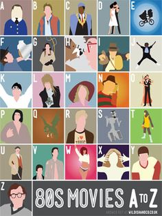 Can you guess them all? 1980s Film Alphabet Shirt | Designed by Stephen Wildish | founditemclothing.com