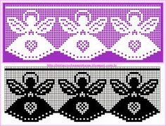 esquema+de+barrados+com+anjos. Filet Crochet Charts, Crochet Borders, Crochet Motif, Crochet Doilies, Knit Crochet, Crochet Curtains, Tapestry Crochet, Thread Crochet, Crochet Crafts