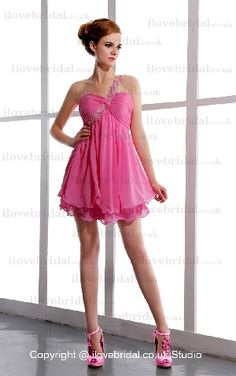 Adorable Chiffon Fuchsia Two-double Cocktail Dress With Exclusive Back