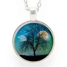 Tree And Shooting Star With Moon Necklace, Midnight Blue – CellsDividing