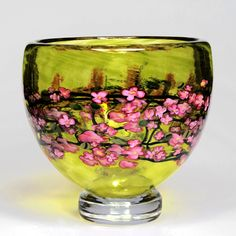 Tribute to Harvey Littleton.  Cherry Blossom Footed Bowl on Lime: Shawn Messenger: Art Glass Bowl | Artful Home
