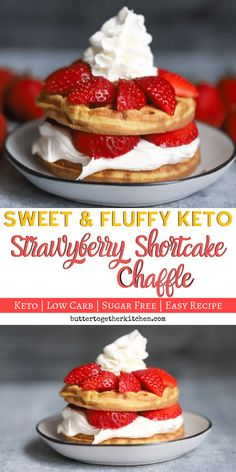 Keto Strawberry Shortcake Chaffle - This sweet chaffle is the perfect chaffle for a strawberry shortcake! You will love how delicious this chaffle ends up tasting! Low Carb Sweets, Low Carb Desserts, Low Carb Recipes, Dessert Recipes, Healthy Recipes, Shortcake Recipe, Keto Waffle, Waffle Recipes, Keto Friendly Desserts