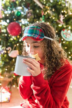 A beautiful young girl drinking hot chocolate at Christmas time. Christmas Morning, Christmas Time, Hot Chocolate, Drinking, Stock Photos, Beautiful, Drinks, Crockpot Hot Chocolate, Drink
