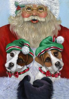Christmas Santa and canine elves -- art by Renaud