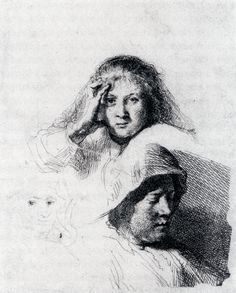 Rembrandt (1606-1669) Sheet Of Sketches With A Portrait Of Saskia  Etching  c1635  Private collection