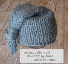 Chunky Knotted Long-Tail Newborn Hat Knitting Pattern, PDF Number 135 -- Permission to Sell Hats -- Over 13,000 patterns sold. $4.00, via Etsy.