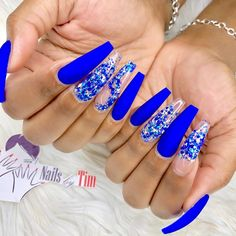 50 Fabulous Sparkly Giltter Acrylic Blue Nails Design On Coffin And Stiletto Nails To Try Now - Page 4 of 54 - Latest Fashion Trends For Woman Blue Coffin Nails, Blue Acrylic Nails, Summer Acrylic Nails, Cobalt Blue Nails, Blue Stiletto Nails, Prom Nails, Bling Nails, Swag Nails, My Nails