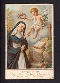 Saint Rita w/ Angle Roses crown antique  holy card on cardboard