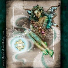 """""""Pisces"""" - from my Zodiac Collection. February 19 - March 20 http://www.mysticmoonmedia.com/collections/art-gallery-giclee-prints-mystic-moon-media/products/pisces #FantasyArt #FantasyArtwork #DigitalPainting #FantasyArtPrints #digitalFantasyArt #zodiac #fairy #fairyart #fairyartwork #pisces  -C.Gerhardt"""