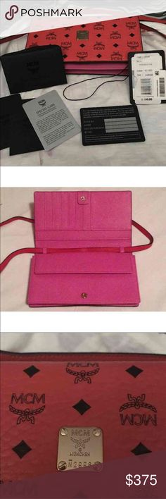 MCM Crossbody Visetos Wallet NWT 100% Authentic  Cross Body wallet in monogram Visetos with leather trim. MCM luxury accessories brand Modern Creation München better known by the initials MCM Serial number and Authenticity Cards Included 2nd picture shows serial number of bag. Bought at Bloomingdales  Gorgeous Criss body Color: Red and Pink Adjustable strap Credit card storage & large pocket inside 2 additional slip pockets Comes with Authenticity cards and price tags No dust bag  $460…