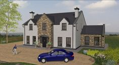 Rural House, Bungalow House Plans, Cottage House Plans, Cottage Homes, Stone House Plans, Dream House Plans, House Designs Ireland, Stone Porches, House Outside Design