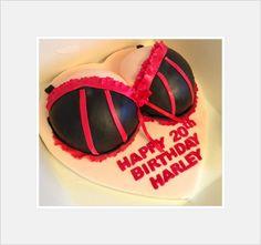 Birthday Cakes - Birthday Boobs cake with Burlesque Red and black bra Adult Birthday Cakes, 40th Birthday Cakes, 20th Birthday, Birthday Fun, Birthday Ideas, Bra Cake, Cake Logo, Cakes For Men, Novelty Cakes