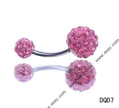 27mm Pink Navel Nail Belly Button Bar Double Crystal Body Piercing Art #eozy