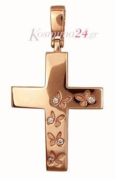 Ροζ Γυναικείος Σταυρός 015475 Christening, Necklaces, Jewellery, Weddings, Modern, Gold, Vintage, Fashion, Rings