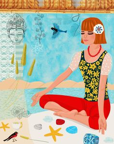 Yoga on the Beach ~~ Art Print