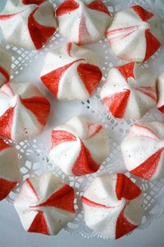 Peppermint Meringues, I made these last year with dark chocolate chips under them. Yum.