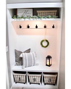 Closet drop zone with headboard background, built-in bench, and lots of baskets and hooks for storage. Entry Closet, Front Closet, Entryway Storage, Entryway Decor, Entryway Ideas, Closet Storage, Bench In Entryway, Closet Bench, Coat Closet Organization