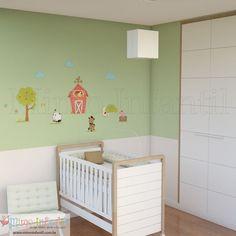 Adesivo de parede para decoração de quarto de bebê e infantil | SP,BH, MG, RJ, DF | Galhos, pássaros, passarinhos, árvores, borboletas, nuvens, fazenda, cavalos, cavalinhos, porcos, porquinhos, vacas, vaquinhas, celeiro