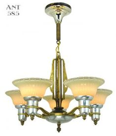 Art-Deco-Streamline-Chandelier-5-Arm-Light-Fixture-by-Mid-West-Mnf-(ANT-585)