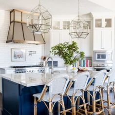 White Kitchen Renovation with Benjamin Moore Hale Navy Island via Alice Lane Home