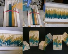 Jabones Ramy - 3 dividers to make 5 sections; remove dividers; swirls side to side going end to end; then swirl diagonally; cut like the mantra swirl