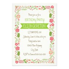 Coral pink and peach #floral border #birthday party #invitation for girls and young women.