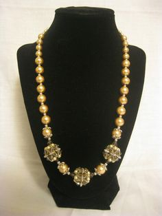 Crystal and Pearl Beaded Necklace with Matching by MoniqueChic, $16.00