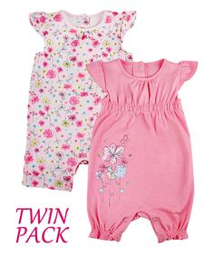 Baby Girls Chainstore Twin Pack Romper Suits in Peach with Pretty Floral Design