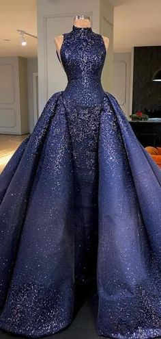 Royal Blue Sparkly Bead Ball Gown Gorgeous Prom Dresses - March 10 2019 at Blue Ball Gowns, Ball Gowns Prom, Ball Dresses, Prom Ballgown Dresses, Royal Ball Gowns, Evening Dresses, Vintage Ball Gowns, Evening Outfits, Quinceanera Dresses
