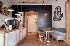 Cafe Restaurant, Restaurant Branding, Restaurant Seating, Modern Restaurant, Restaurant Ideas, Small Coffee Shop, Coffee Shop Design, Hipster Coffee Shop, Coffee Shops