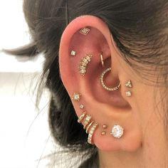 's beautiful collection, with a new hiding helix piercing up. - 's beautiful collection, with a new hiding helix piercing up top with Har - Daith Piercing, Faux Piercing, Ear Peircings, Cute Ear Piercings, Multiple Ear Piercings, Bellybutton Piercings, Body Piercings, Fringe Earrings, Crystal Earrings