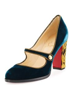 S0G22 Christian Louboutin Top Street Red Sole Mary Jane Pump, Lagune