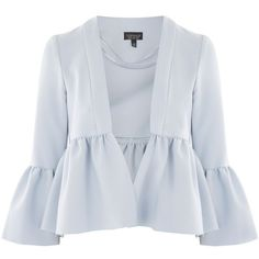 Topshop Crop Frill Detail Jacket ($32) ❤ liked on Polyvore featuring outerwear, jackets, tops, topshop, pale blue, structure jacket, peplum jacket, cropped jackets, topshop jackets and open front jacket