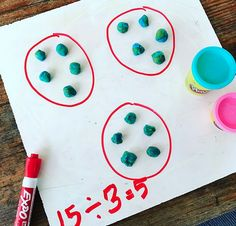 Teaching division with playdough! Big kids need to use math manipulatives too! Great for learning division facts!