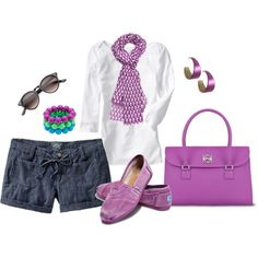 A fashion look from May 2012 featuring old navy shorts, toms flats and purple handbags. Browse and shop related looks. I Love Fashion, New York Fashion, Passion For Fashion, Runway Fashion, Womens Fashion, Fashion Trends, Toms Outfits, Casual Outfits, Summer Outfits