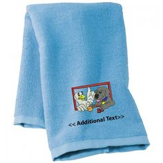 Buy personalised A Dog and a Duck  Towels which you can get your custom text below the main logo, This Custom Embroidered category of towels which are made from the soft organic 100% Cotton Terry.
