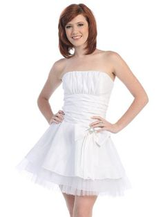 Beautiful Strapless Flat Pleated Empire Waist Tiered With Bowknot Cocktail Dress Cute Dresses, Prom Dresses, Formal Dresses, Dresses 2014, Graduation Dresses, Party Dress Sale, White Dress, Cocktail Dresses, Beautiful