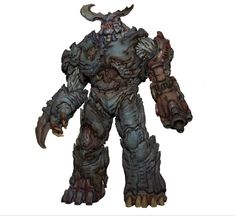 """""""The lore of the Cyberdemon drives the visual design of the character. The remains of this beast were found during an expedition through Hell. His lifeless body was brought back to our world and re-animated by the UAC using their technology. This model was created by Jason Martin based on a concept I did at the beginning of the project."""" (mashable, 02/17)"""